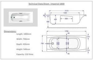 1800 x 750 Imperial Technical Drawing