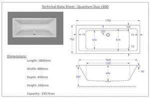 Carron Quantum Duo 1800 x 800 Bath technical