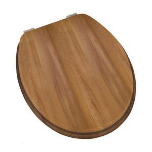 Moods Vista Walnut Toilet Seat with Chrome Hinges