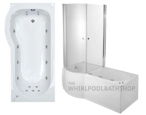 LH P Shaped 17 Jet Enclosed Whirlpool Shower Bath