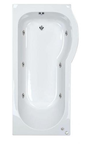 6 jet Trojan Concert 1600 mm Right Hand P Shaped Whirlpool Shower Bath