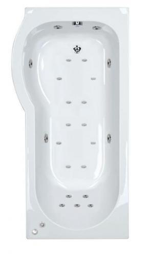 23 jet Trojan Concert 1675 mm Left Hand P Shaped Whirlpool Shower Bath