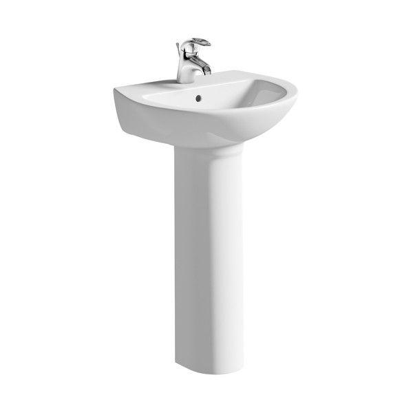 Moods Naples 1 Tap Hole Cloakroom Basin with Full Pedestal 450mm