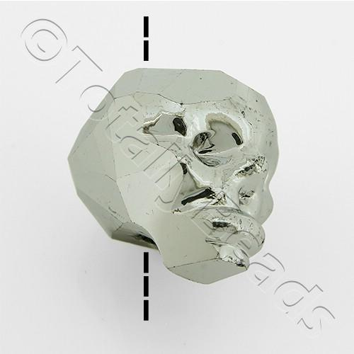 Crystal Skull Bead 13mm 1 Piece - Silver