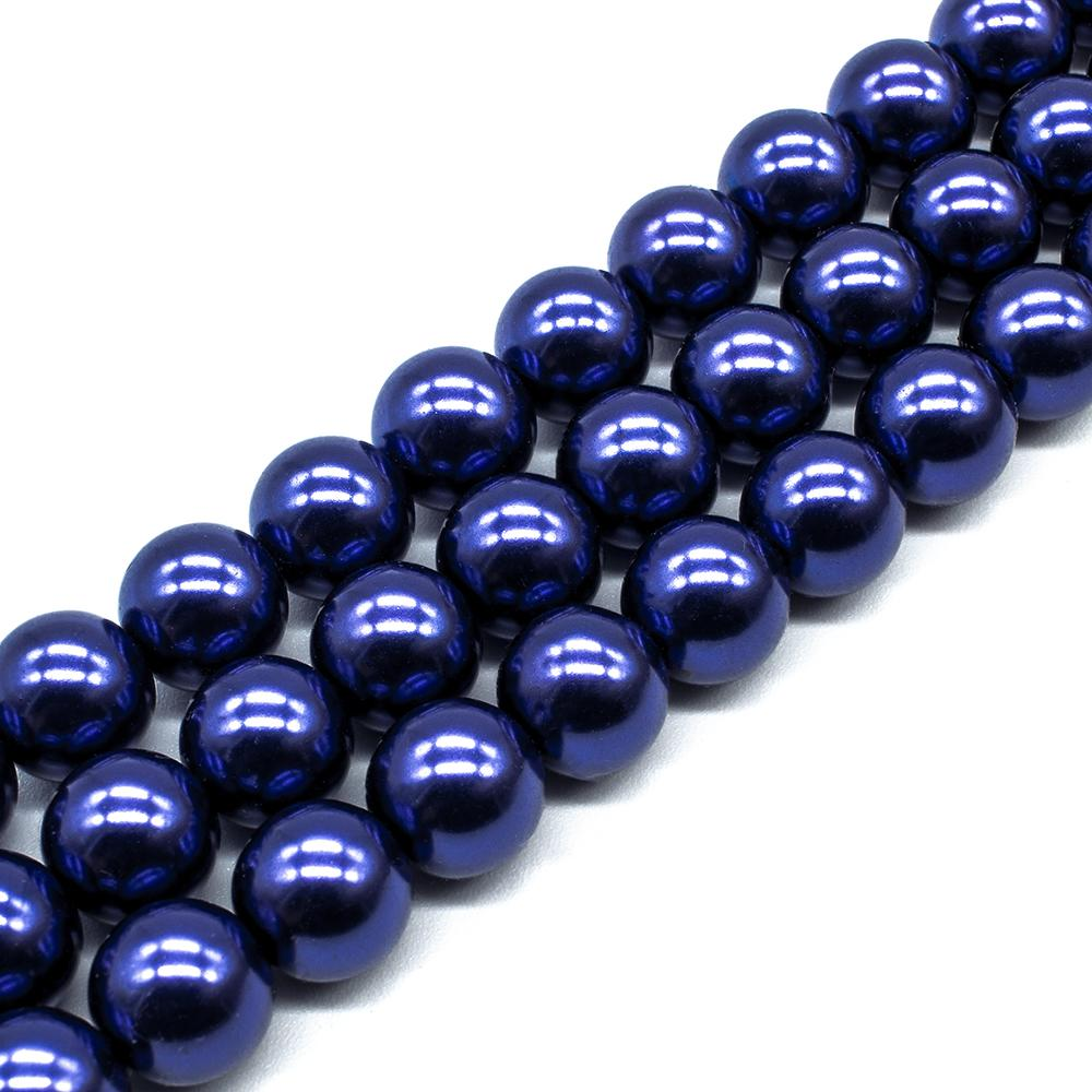 Glass Pearl Round Beads 12mm - Cobalt Blue