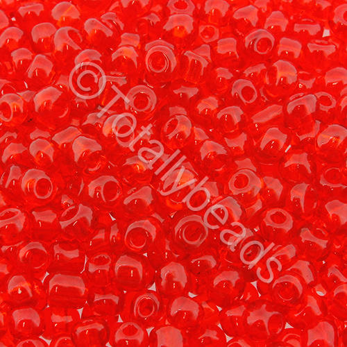 Seed Beads Transparent  Red - Size 6