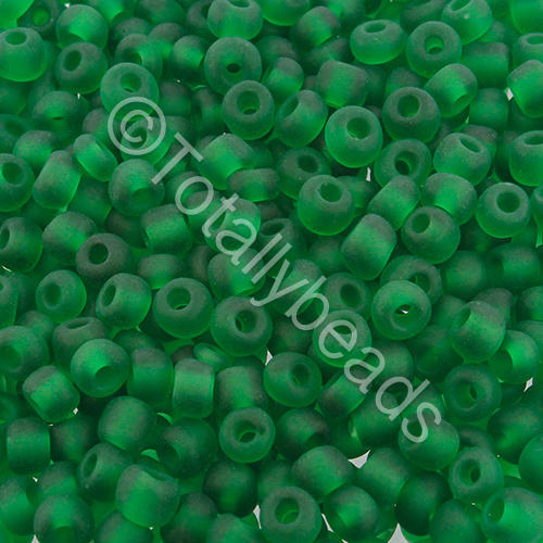 Seed Beads Transparent Frosted  Green - Size 6