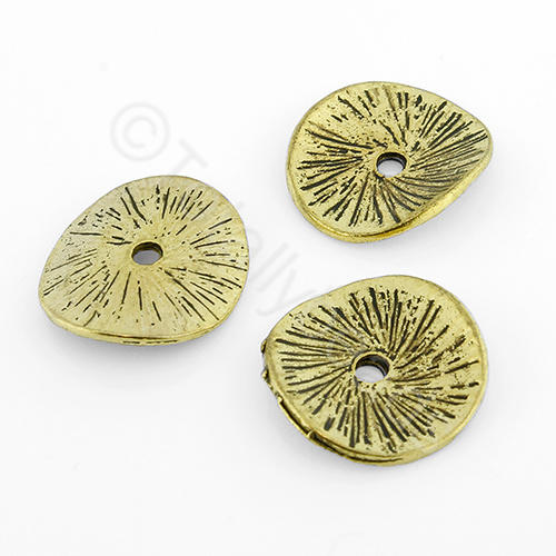 Tibetan Gold Bead - Curved Disc 15mm
