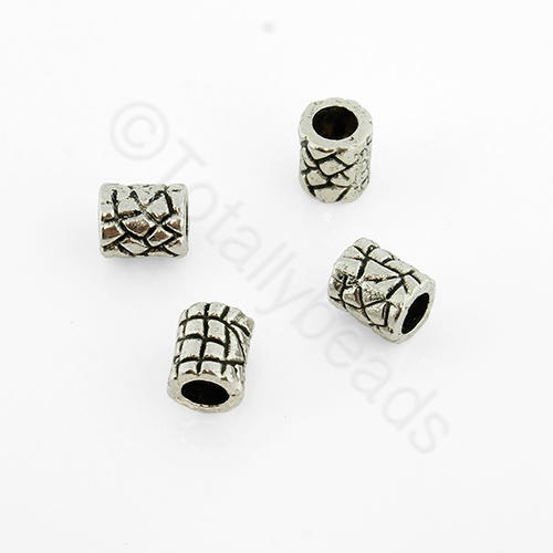 Antique Silver Metal Bead - Tube 7x6mm 25pcs - A0979