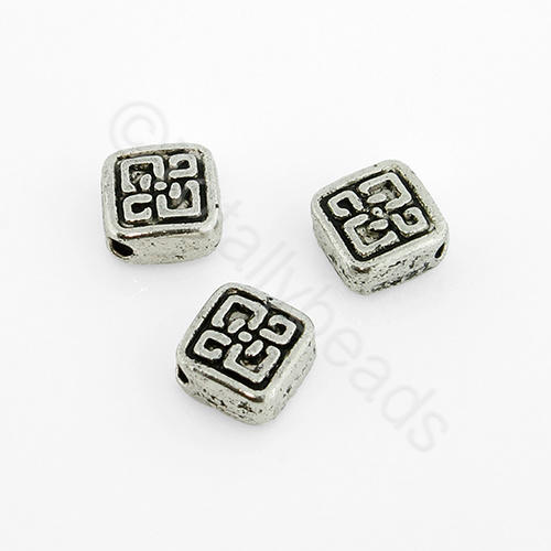 Tibetan Silver Bead - Celtic Diamond 6mm