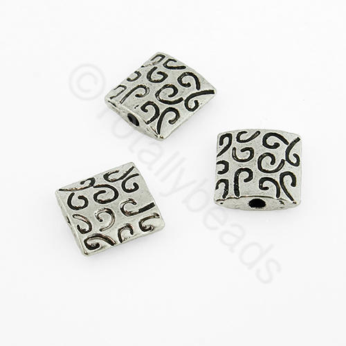 Tibetan Silver Bead - Squiggle Square 9mm (Y-408)
