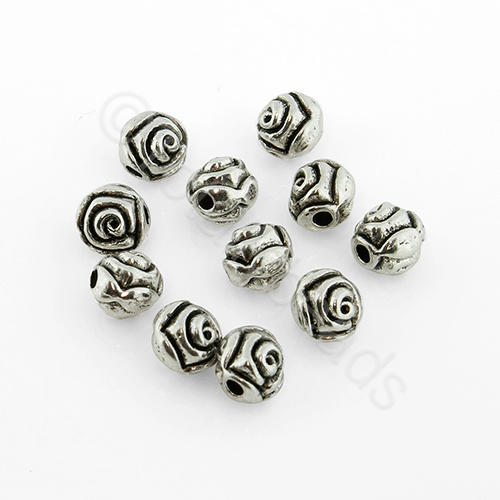 Antique Silver Bead - Round Rose 5mm 40pcs