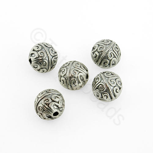 Antique Silver Metal Bead - Pattern Round 7mm 15pcs - H681