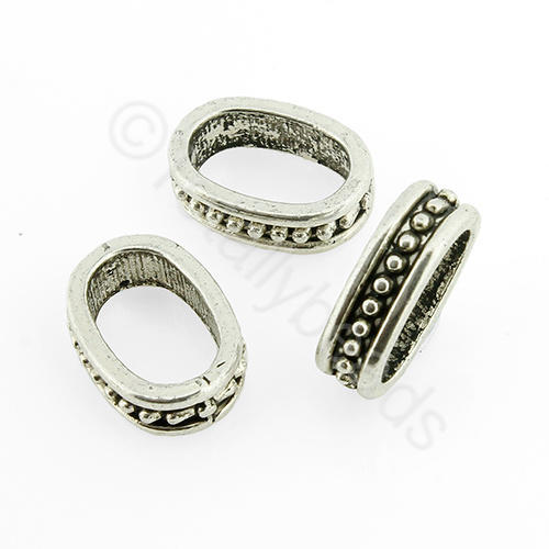 Antique Silver Rondelle - 14x10x3mm - Oval