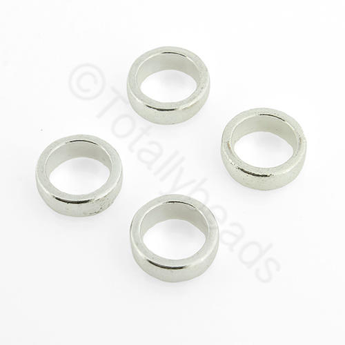 Silver Round - 11x6mm - Large Hole