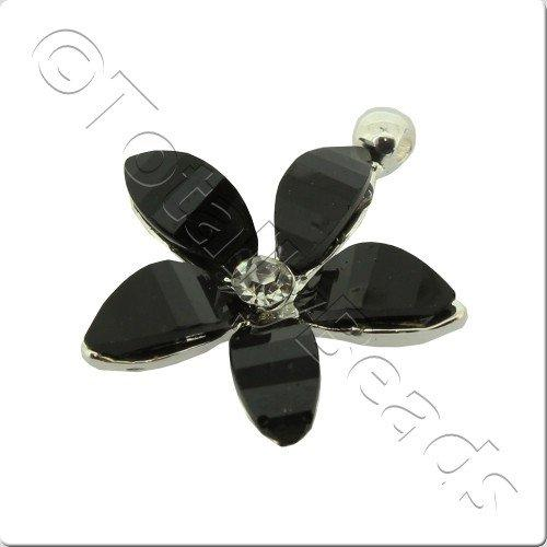 Silver Metal 5 Black Petal Charm 24mm - 3pcs