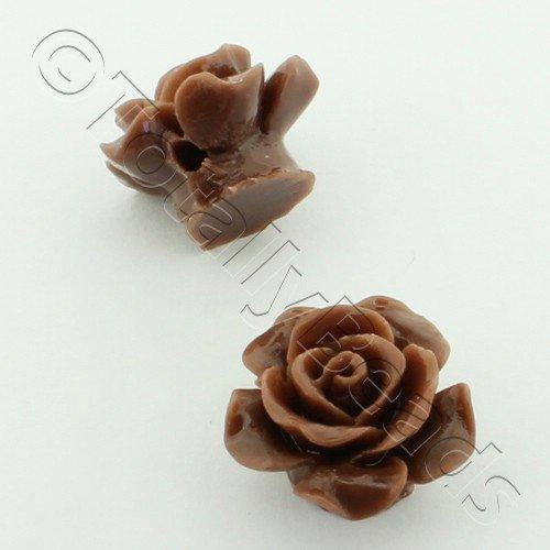 Acrylic Rose 15mm 1 Row - Brown 4pcs
