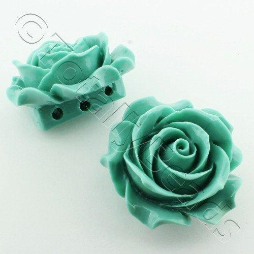 Acrylic Rose 35mm 3 Rows - Sea Foam