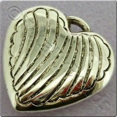 Acrylic Antique Silver Charm - Heart 33mm