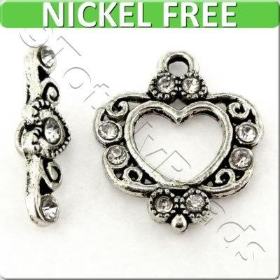 Antique Silver Metal Toggle - Crystal Heart 18mm - FA10580