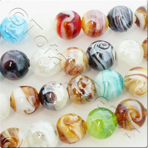 Lampwork Glass Beads Round 12mm - Mixed Luster String