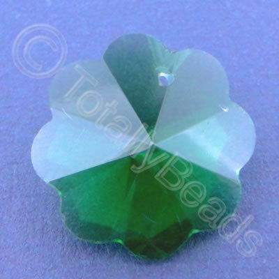 Glass Pendant Flower Green - 26mm