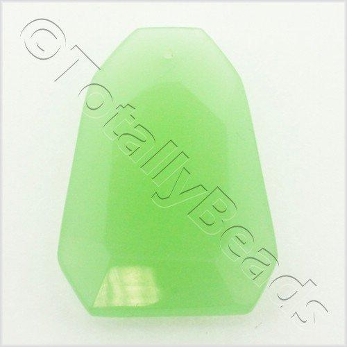 Glass Pendant Facet Rectangle 24mm - Opaque Green