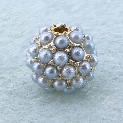 BeadyBall Bead - Gold and Silver Grey