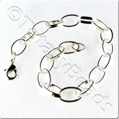Chain Bracelet - Silver Plate - Big Link with Lobster Clasp
