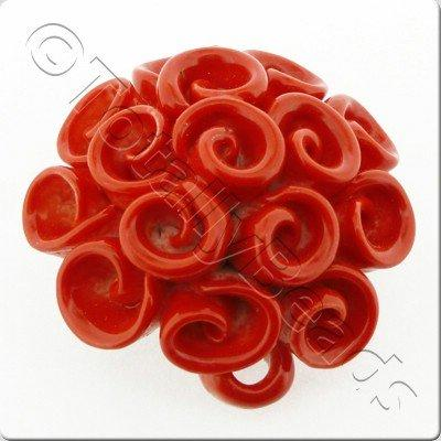Ceramic Pendant - Swirl Flower - Red