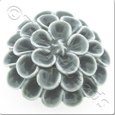 Ceramic Pendant - Flower - Grey