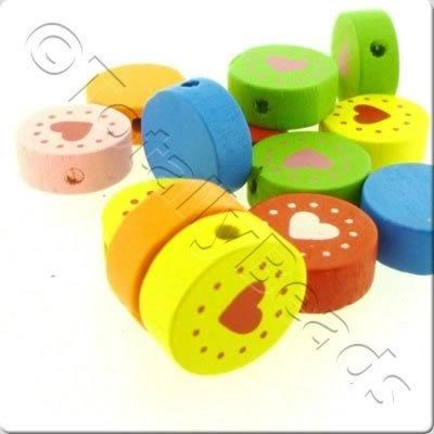 Childrens Wooden Beads - Heart Disc