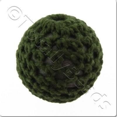 Crochet Bead 22mm - Dark Green