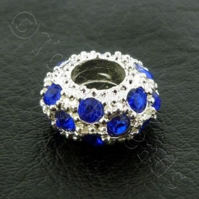 Diamante Large Hole Rondelle Spacer - 11x6mm - Royal Blue