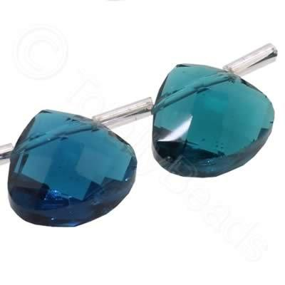 Crystal Flat Drop 13mm - Dark Turquoise