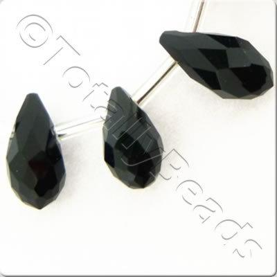 Crystal Drop Top Drilled 6x12mm - Jet Black