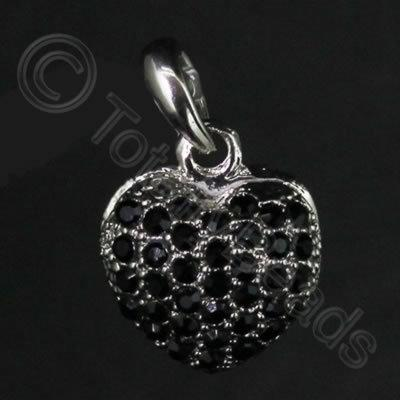 Diamante Pendant - Small Heart - Jet Black