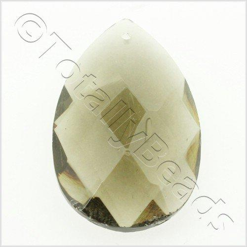 Glass Pendant Faceted Drop 28mm - Grey