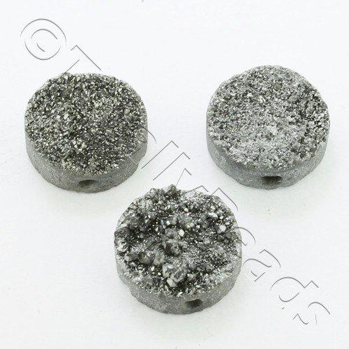 Druzy Bead Disc 12mm - Silver Plate
