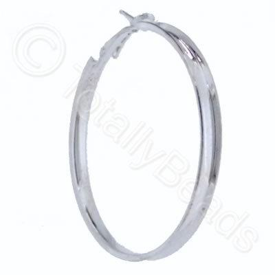 Loop Earring Beveled - 50mm Silver Plate