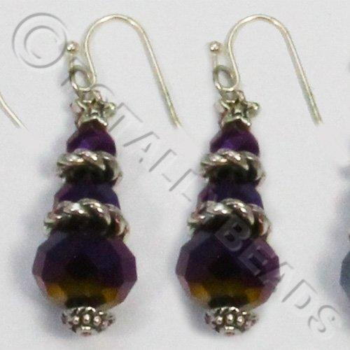 Christmas Tree Earrings - Purple AB