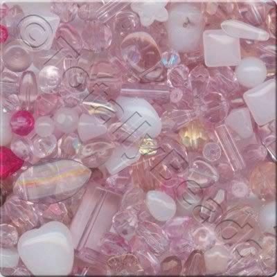 Mixed Glass Crystal Beads - Pink - 100g