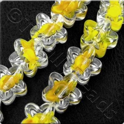 Glass Flower - 12mm - Clear-Yellow - 28pcs