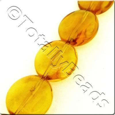Glass Ridged Flat Oval - 18x16mm - Amber - 16pcs