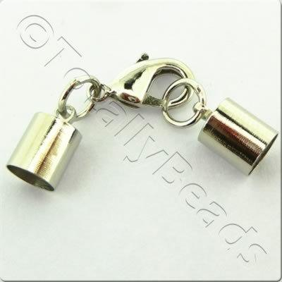 Kumihimo 7mm Barrel Lobster Clasp Rhodiumn - 2 sets