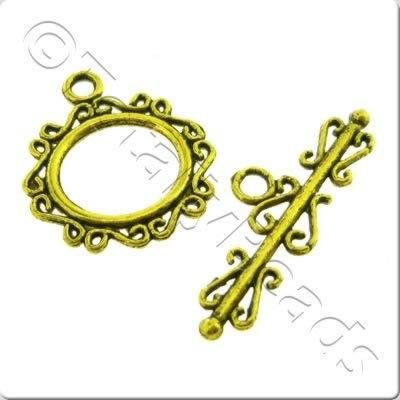 Tibetan Gold Toggle - Fancy Oval 22mm A5437