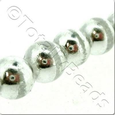 Half Silver Round Glass Bead - Clear