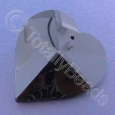 Glass Pendant Heart Black - 40mm