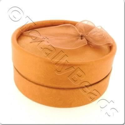 Jewellery Gift Box - Large Round - Copper Flower