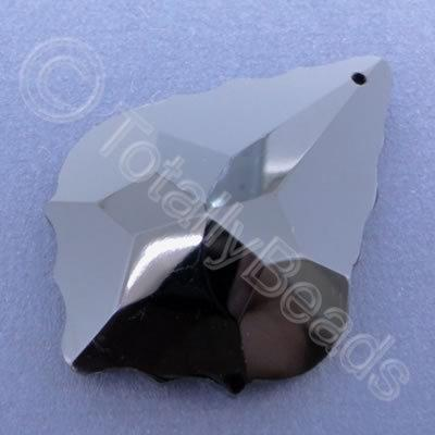 Glass Pendant Leaf Drop Black - 50mm